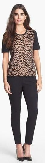 Leopard Print Top   Black Pants