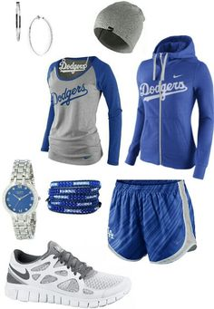 Blue gray white dodgers sporty outfit. I am not a dodgers kinda girl.. but I will take the shoes!!