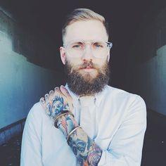Jona Weinhofen - full thick blond beard blonde mustache beards bearding bearded man men mens' style tattoos tattooed golden model handsome #goldenboy #beardsforever