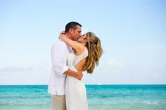 Bride and Groom at the beach of Grand Coral Beach Club, at Playa del Carmen, Riviera Maya, Mexico. The BIG DAY is happening now by Naal Wedding Photography.
