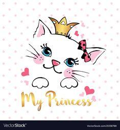 Hand drawn card with cute princess cat . design element for t-shirts print, textile, fabric, vector illustration. Cute Lion, Cute Sheep, Kitten Cartoon, Cute Cartoon, Comics Sketch, Doodles Bonitos, Doodle Monster, Character Design Cartoon, Hand Drawn Cards
