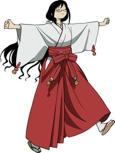 In BLOOD-C, Saya lives with her father Tadayoshi at the local shrine, where she serves as a miko (priestess).