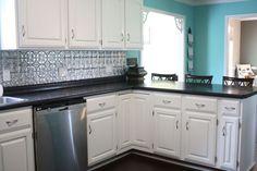 Bright aqua kitchen makeover