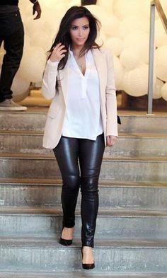 Look Kim Kardashian: Calça de Couro
