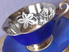 UNIQUE Vintage Royal Albert tea cup, Silver tea cup, English tea cup, Blue…