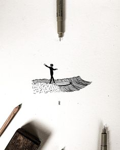 Surfing, How To Draw Hands, Drawings, Hand Drawn, Illustration, Prints, Tattoo Ideas, Inspiration, Adventure