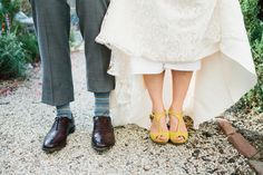 yellow t-strap wedding shoes