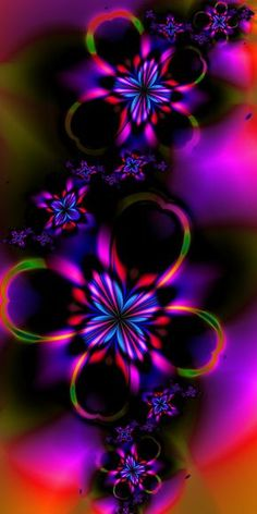 Rainbow kaleidoscope of colours Flowers by Esmerald Eyes Butterfly Wallpaper, Heart Wallpaper, Cellphone Wallpaper, Colorful Wallpaper, Wallpaper Backgrounds, Fractal Design, Fractal Art, Fractal Images, Psychedelic Art