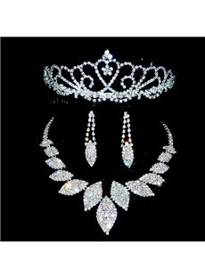 New Stylish Crystal Wedding Bridal Tiaras Jewelry Sets Including Necklace Earring