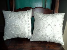 Pillows made from wedding dresses - by Keepsake Threads. Especially nice when dress can not be reused because of irreparable damage.