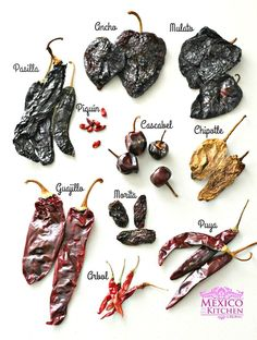 mexican cooking MEXICAN DRIED PEPPERS Dried peppers are a key ingredient in Mexican cuisine. Many traditional celebration's meals wouldn't be the same without them, dishes like the Traditional Mole or the Wedding Stew have a sauce base Authentic Mexican Recipes, Mexican Salsa Recipes, Mexican Chili, Mexican Drinks, Mexican Desserts, Mexican Kitchens, Mexican Cooking, Chili Mexicano, Dried Peppers