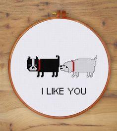 Funny Dog Love cross stitch pattern