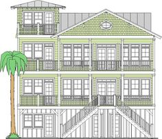 Water Front elevation of Channel Watch 3887-4E cottage