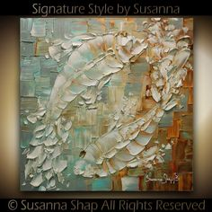 ORIGINAL Art Koi Fish Painting Thick Texture Abstract Painting Yin Yang Love Contemporary Fine Art by Susanna - 24x24 on Etsy, $345.00