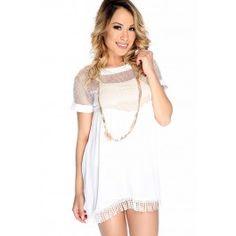 Sexy White Mesh Sheer Crochet Fringe Dress