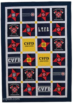 Turn treasured tees into T-shirt quilts with 8 patterns, from a pillow or baby throw to bed quilts in multiple sizes. Learn the secrets to choosing, cutting, and interfacing tees. Simple Shirts, Great T Shirts, Fireman Quilt, Jersey Quilt, Book Shirts, Quilt Bedding, Bed Quilts, Husband Humor, Shirt Quilt