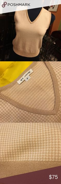 """St. John Knit Sweater Vest Cream and tan classic sweater vest. Size shows """"P"""" but this is small and I would say fits like a size 6P or regular 4. St. John Sweaters V-Necks"""
