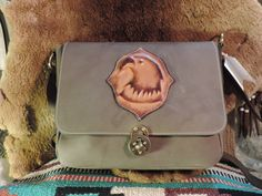 Large Satchel with 3-D moulded leather Eagle Applique on flap by RoundOakLeather on Etsy