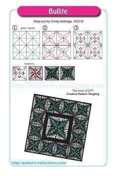 Bullite by Cindy Aldridge Doodle Art Designs, Doodle Patterns, Zentangle Patterns, Zentangle Drawings, Doodles Zentangles, Doodle Drawings, Zentangle For Beginners, Motif Art Deco, Tangle Art