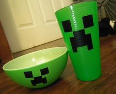 MINECRAFT- get bowls and cups from dollar store.  Vinyl or chalkboard paint