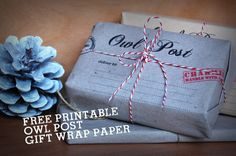 Free printable Harry Potter Owl Post gift wrapping paper 8 x I just made the paper and used twine Cadeau Harry Potter, Harry Potter Bricolage, Theme Harry Potter, Anniversaire Harry Potter, Harry Potter Gifts, Harry Potter Birthday, Harry Potter Printables, Creative Gift Wrapping, Gift Wrapping Paper