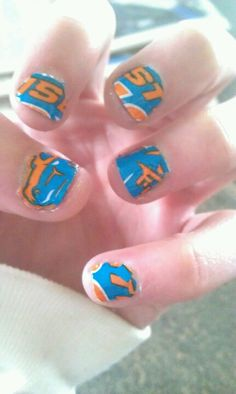 Boise state nails that I did on my nails