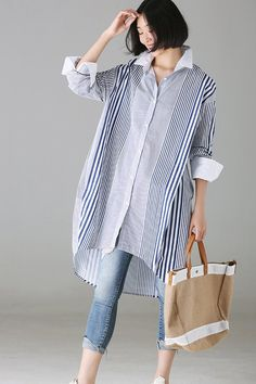 Fashion Loose Striped Cotton Long Shirt For Women - moda Long Shirt Outfits, Loose Shirt Outfit, Long Shirt Dress, Mode Outfits, Casual Outfits, Long Shirt With Leggings, Hijab Fashion, Fashion Dresses, Fashion Tips