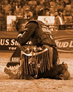 Professional Bull Rider Mike Lee on his knees thanking God! Love this!