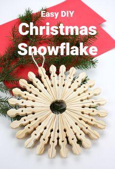 I love these old-style wooden clothes peg snowflake decorations! Easy to make with step by step instructions. #snowflakedecoration #snowflakecraft #christmas #christmasideas #christmascrafts #easychristmascrafts #wintercrafts #kidschristmasideas #kidsactivities #kidsart #kerst #noel #joyeuxnoël. #froheweinachten #feliznavidad. #kerstideeën #pomysłyświąteczne