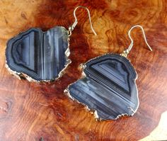 Agate Slice Earrings  Black Raw Handmade от AmazingCrystals