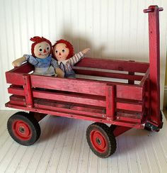 Vintage Extra Large Red Wooden Wagon - Hand Crafted Oversized Primitive Pull…