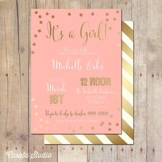 Pink and Gold Baby Shower Invitation Bridal Shower Card 5x7 on Etsy, $16.00