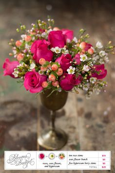 with red roses instead (and different berries)... Blooms on a Budget #02 | The Budget Savvy Bride