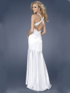 2012 Spring Style Sheath / Column Halter  Beading  Sleeveless Floor-length Chiffon White Prom Dress / Evening Dress