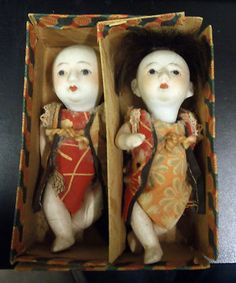 "Antique Pair Japanese Bisque Baby Dolls 4"" Original Box | eBay"