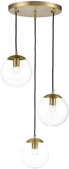 Light Society Zeno Pendant Lamp in Brushed Brass and Clear Glass Globes with Adjustable Length Cords, Retro Mid Century Modern Style Chandelier Chandelier In Living Room, Chandelier Shades, Modern Chandelier, Chandeliers, Globe Pendant Light, Pendant Lamp, Pendant Lighting, Ceiling Light Design, Ceiling Lights