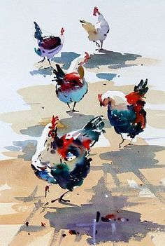 Amazing Rooster Watercolor Paintings - Fine Art Blogger #watercolorarts