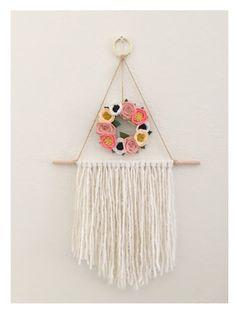 FLORAL WALL HANGING // Felt Flower Wreath // Yarn by HoneyCrown