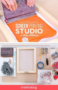 don't need an expensive or elaborate studio space to create successful screen prints. Mixed media artist Hilary Williams talks you through setting up a basic home studio space. Diy Screen Printing, Diy T Shirt Printing, Screen Printing Equipment, Impression Textile, Do It Yourself Baby, Arts And Crafts, Diy Crafts, Fabric Painting, Art Lessons