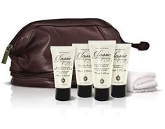 Classic Male Grooming Leather Travel Bag - Men's Grooming Gift by Scottish Fine Soaps...Classic Male Grooming Gentleman's Travel Bag. A Luxurious Gentleman's travel bag, this is the perfect Wash Bag for any male. Containing 75ml Exfoliating Body wash