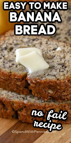 This easy Banana Bread recipe is a no-fail favorite that comes out perfect every time! With a handful of ingredients that you likely have on hand and only a few minutes of prep youre going to start buying extra bananas just for this recipe! 3 Ingredient Banana Bread Recipe, Nut Bread Recipe, Easy Bread Recipes, Banana Bread Recipes, Ingredients For Banana Bread, Mango Bread Recipe Easy, Recipes With Bananas, Frozen Banana Recipes, Köstliche Desserts