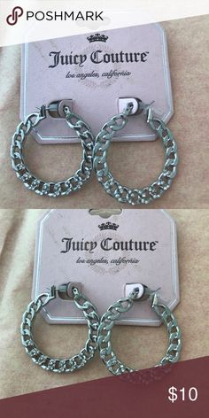 NWT Juicy Couture hoop solid chain link earrings Brand new ! my daughter never wore them they are very cool little silver earrings with teeny tiny diamond studs and I love the chain-link look but it's actually solid. Juicy Couture Jewelry Earrings