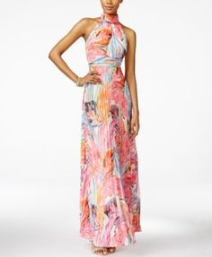 INC International Concepts Printed Pleated Halter Maxi Dress, Only at Macy's | macys.com