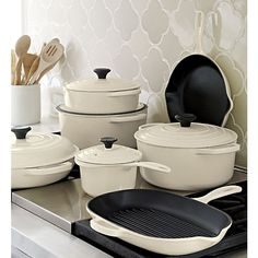 Le Creuset® Cream Skillet in Enamel Cookware | Crate and Barrel-Will take all of this please! Whole set is approx. 1309.00