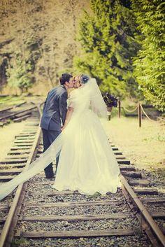 Pacific Northwest Weddings   Clane Gessel Photography #weddings #photography #traintracks #kiss