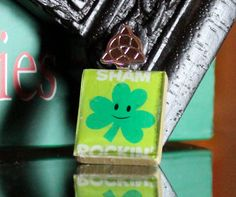 Cute Shamrock sticker mounted on a scrabble tile makes for a gorgeous Irish pendant!