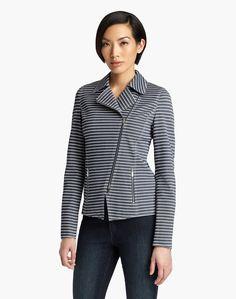 Stripe Denim Twill Julius Jacket - Jackets - Women - Clothing   Lafayette 148 New York
