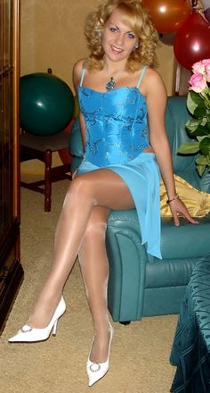I her beautiful legs in high heels and shiny stockings and. Beautiful Legs, Beautiful Women, Tan Pantyhose, Nylons, White Pumps, Women Legs, Satin Dresses, Sexy Legs, Crossdressers