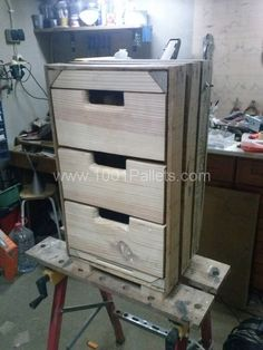I turned a wooden crate into a lovely 3 drawer cabinet!  Idea sent by nuno ferreira !