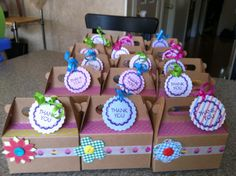 washi tape and paper flowers made these favor boxes birthday party perfect !